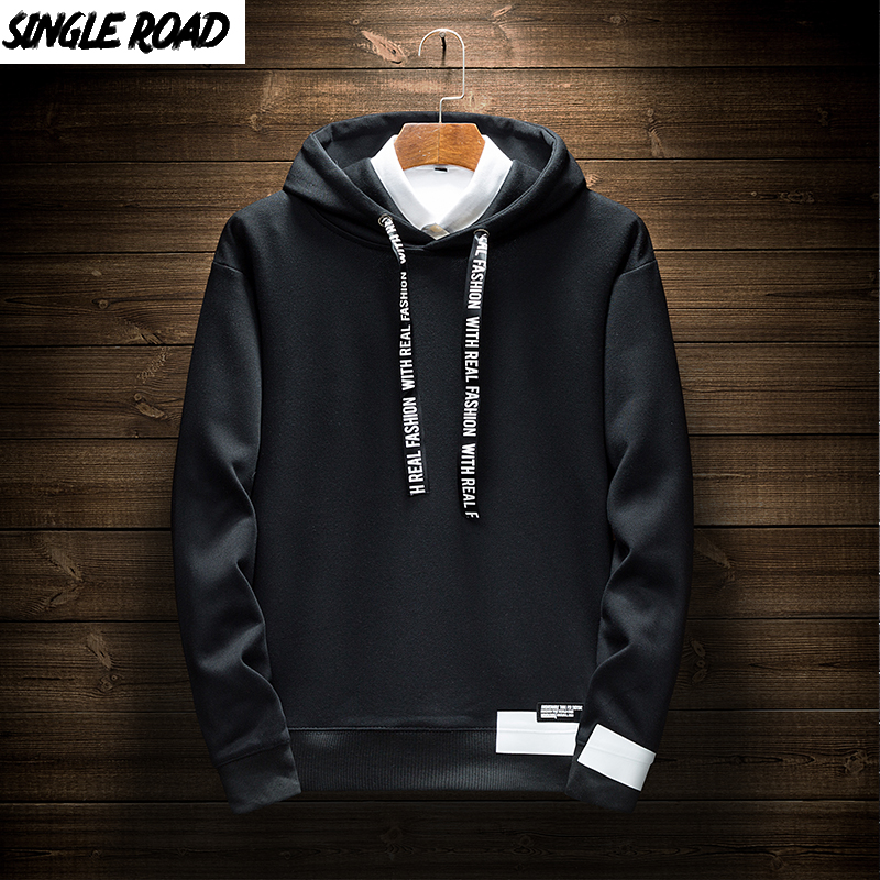 SingleRoad Men's Hoodies Men 2019 Oversized Casual Plain Japanese Streetwear Hip Hop Sweatshirt Male Solid Black Hoodie Men