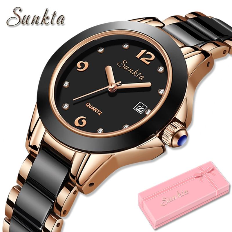 SUNKTA Women Watches Luxury Brand Watch Bracelet Waterproof Diamond Ladies Wrist Watches For Women Quartz Clock Relogio Feminino