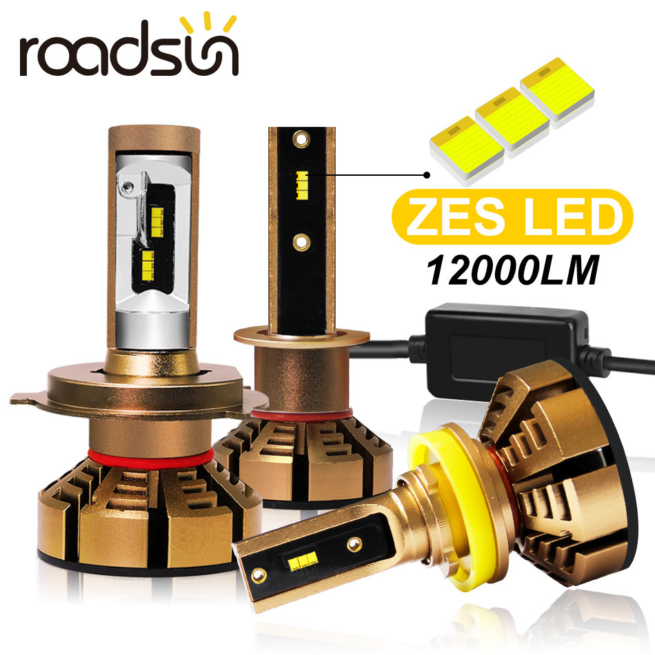 lampada de farol de carro roadsun zes led h7 h4 h1 h11 h8 led h9 hb3
