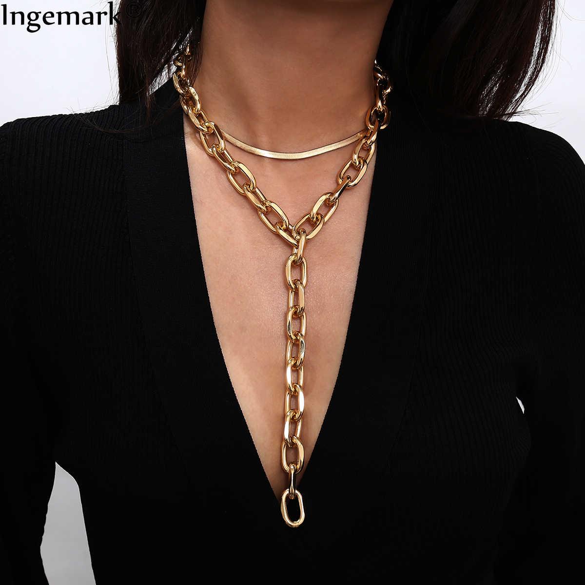 パンクキューバ厚いチョーカーネックレス collares スチームパンクヒップホップ鎖骨分厚いスネークチェーンロングネックレスセクシーな女性胸ジュエリー