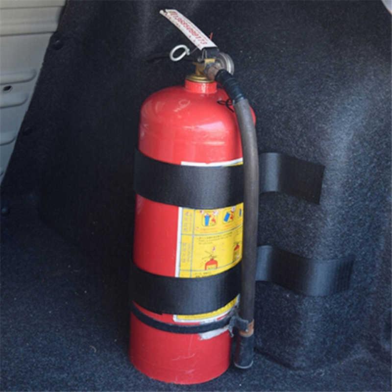 10 adet/takım araba yangın söndürücü etiket naylon bant kemer Net bandaj araba gövde saklama çantası sihirli bant cırt cırt kayış