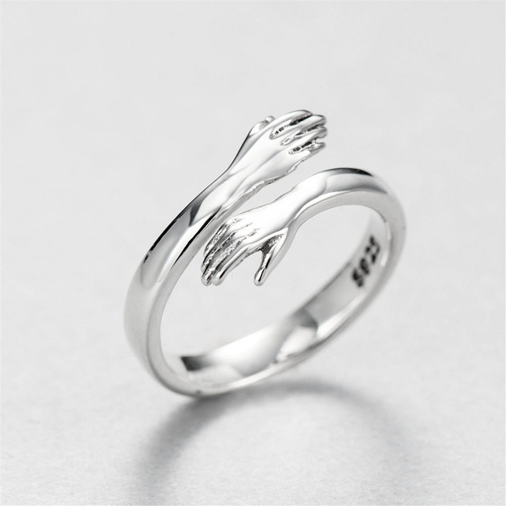 Romantic Gold Sliver Color Hand with Love Hug Rings Creative Adjustable Open Finger Rings for Women Men Couple Jewelry Gift 8