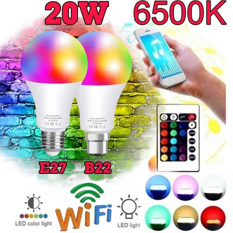 Беспроводные смарт-лампы приложение Дистанционное Управление работать с Alexa/Google Home B22 E27 с регулируемой яркостью Led умный светильник или ИК-п...