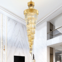 Top Luxury Modern crystal Chandelier Lighting For Staircase Long Gold Light Fixtures Large Hallway Indoor Stair LED hanging Lamp