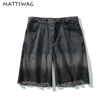 MATTSWAG Summer Hip Hop Short Pant for Men Fashion Gradient Mens Black Denim Shorts Pants Loose Distressed Casual Jeans Homme