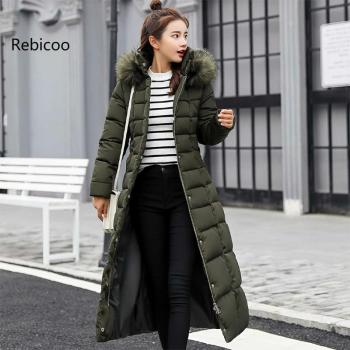 New Casual Winter Down Cotton Jackets Long Winter Jacket Women Fur Collar Parkas Female Slim Winter Warm Coat Womens