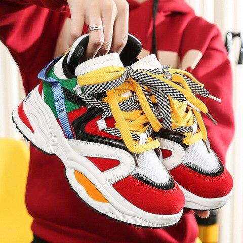 Sapatos de Plataforma das Senhoras Tendência Feminina Chunky Tênis Multi Cor Sola Grossa Altura Crescente Tamanho Grande Feminino Sapatos Casuais Designer