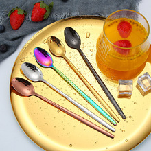 4PCS Colorful Coffee Spoon Set Stainless Steel with Long Handle Kitchen Accessories Dessert Cafe Tea