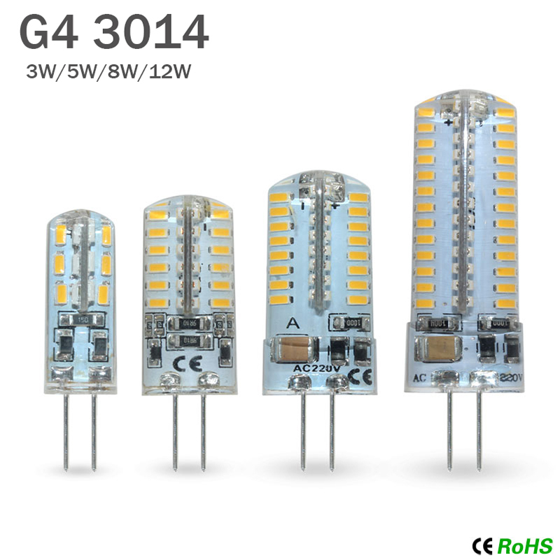 10 шт./лот G4 Светодиодная лампа AC/DC 12/220V 3014 SMD 24/48/64/104 светодиодов, теплый белый/холодный белый, силиконовая лампа, кристальная пробка, светодио...