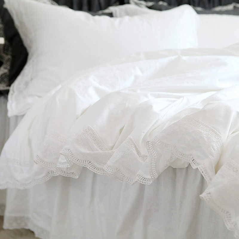 кружевное белое постельное белье