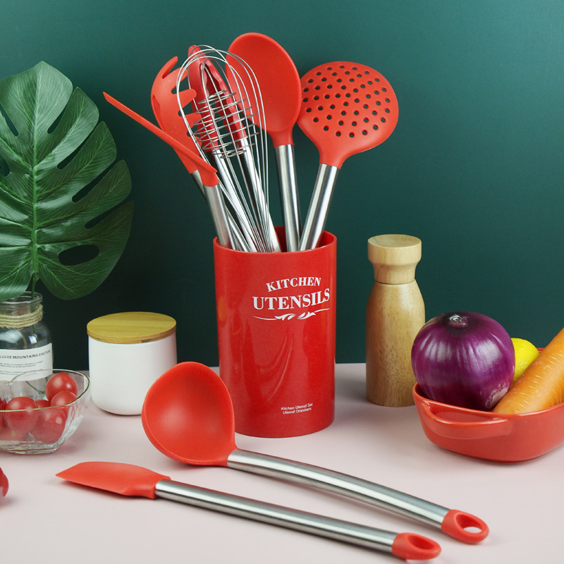 Silicone Cooking Utensil Set With Holder, Non-stick Kitchen Utensils Set, Heat Resistant Cookware with Stainless Steel Handle