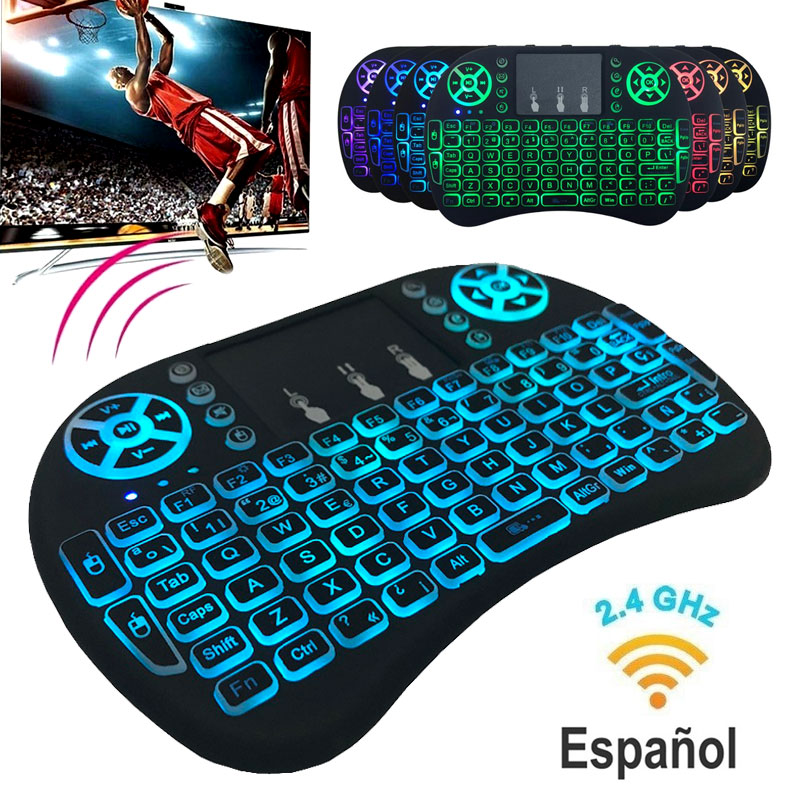 7 Color Backlit I8 Mini Wireless Keyboard 2.4ghz Spanish 3 Colour Air Mouse With Touchpad Remote Control Android TV Box