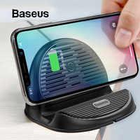Baseus desktop qi carregador sem fio 10 w irradiando ventilador carregador de carregamento rápido sem fio para iphone xs max xr samsung s9 s8 nota 10 9