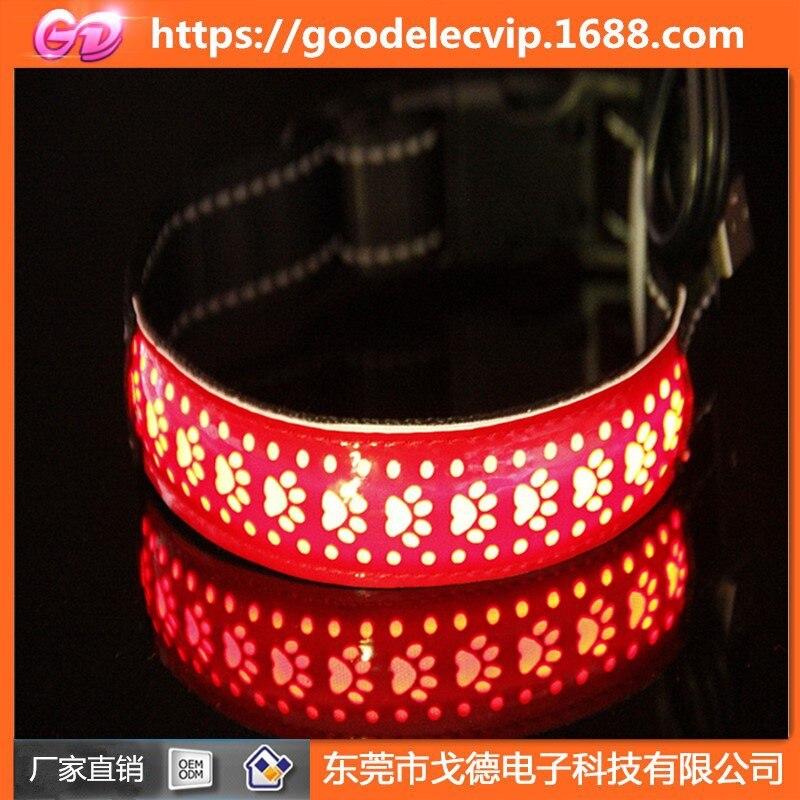 Pet Dog LED Luminous Collar Comfortable Dog Neck Ring Color Pet Charging LED Flash Leather Neck Ring