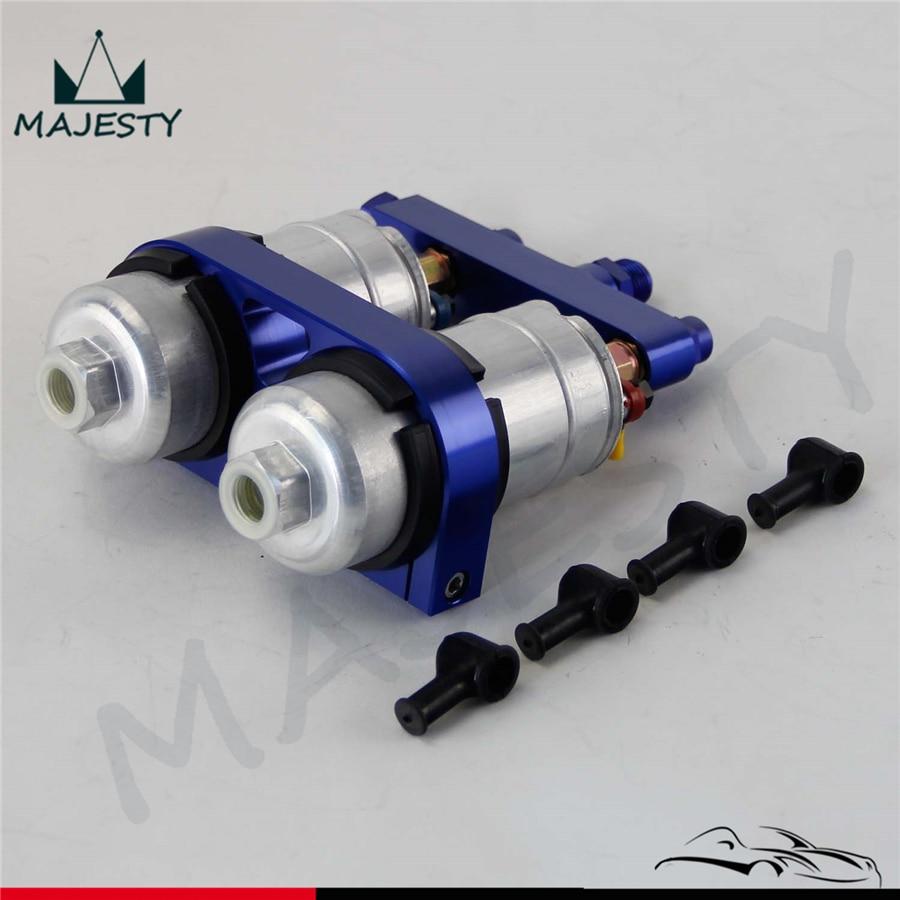 double Dual Bracket clamp Outlet Manifold 2x 044 High Flow External Fuel Pump