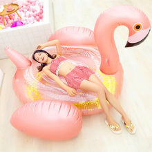 Hot Giant Sequined Flamingo Inflatable Swimming Pool Float Row Air Mattress Swimming Ring for Adult Summer Party Pool Toys(China)