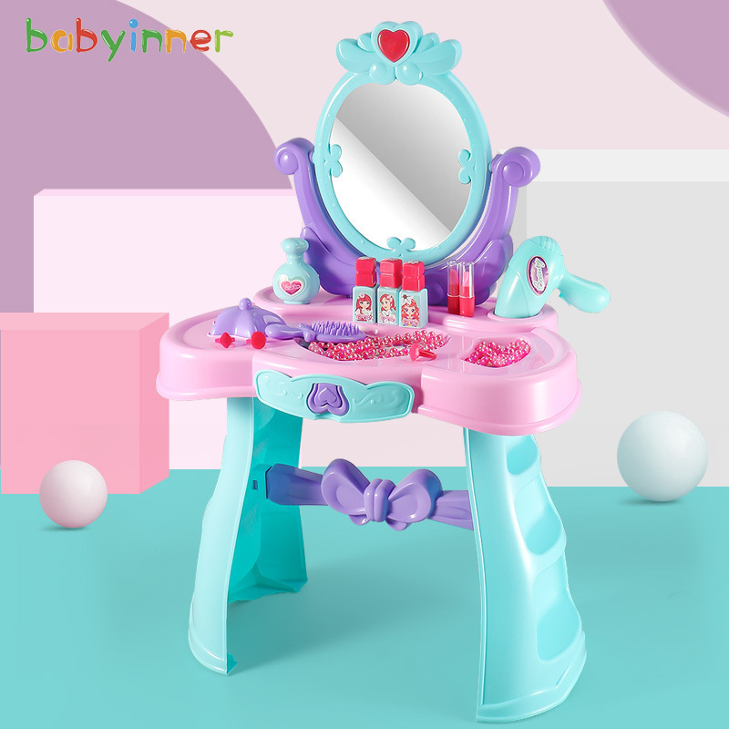 Baby Inner Children Model Cosmetics 43*24*66cm Princess Toy Makeup Girl Play House Birthday Gift ABS Material Dressing Table Set