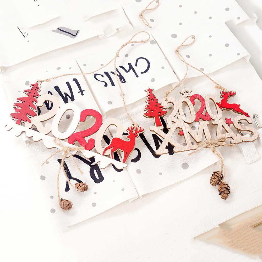 2020 Nieuwe 3D 2020 Xmas Houten Ornament Kerst Decoratie Hanger Nieuwe Jaar Hout Home Decoratie Kerstboom Opknoping Ornament
