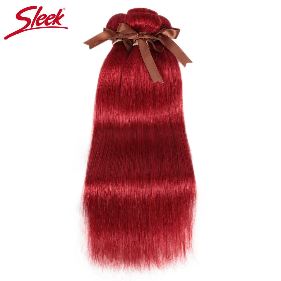 Sleek Red Straight Brazilian Hair Weave Bundles Deal Human Hair Extension Vendors 8 To 28 Inch Remy 100% Human Hair Bundles