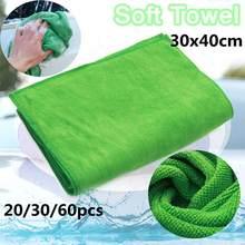 20 panos de secagem práticos macios da lavagem dos caminhões de carro do cuidado da limpeza das toalhas de microfibra dos pces 30x40cm vermelho/amarelo/verde
