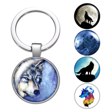 Wolf Love animals Footprints elk glass cabochon keychain Bag Car key chain Ring Holder silver plated keychains Men Women Gifts