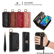 Multifunction Wallet Purse Case For Huawei P30 P30 Pro Zipper Flip Leather Wristband Phone Cover For Huawei P30 Lite Case  Capa