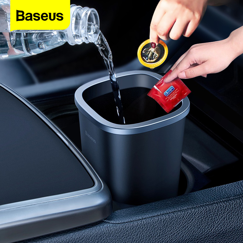 Baseus Car Trash Bin Car Accessories Garbage Can Auto Organizer Storage Holder Bag Car Dustbin Rubbish Basket Bin For Waste Bag