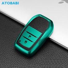 Tpu Autosleutel Cover Voor Toyota Land Cruiser 200 2017 Hilux Rav 4 Sleutelhanger Lederen Patroon Smart Afstandsbediening Fob protector Case