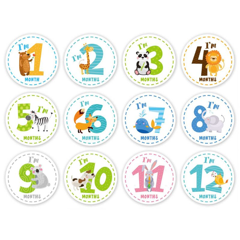 Baby Monthly Sticker Baby Belly Stickers Milestone Monthly Age Sticker Scrapbook Memory Registry Gift Unisex
