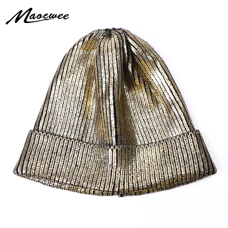 Autumn Winter Solid Color Beanie Hats Girls Fashion Women Caps Bronzing Gold Silver Knitted Rainbow Thick Beanie Warm Bonnet Cap