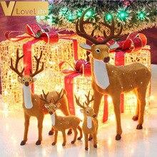 Moose плюшевые 15/20/25 см для сна с изображением рождественских оленей Лось Олень с рисунком рождественского оленя для имитация на Рождество оленей для сада фей; надевается через голову; лет