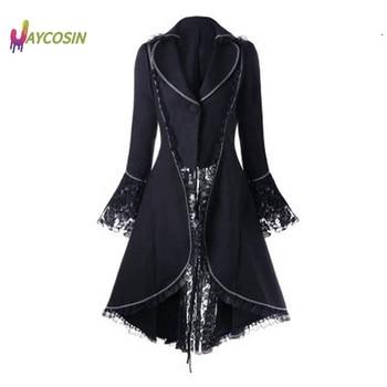 Jaycosin Coat Women Vintage Long Gothic Overcoat Ladies Retro Stitching Tuxedo Jacket Luxury veste femme chaquetas mujer
