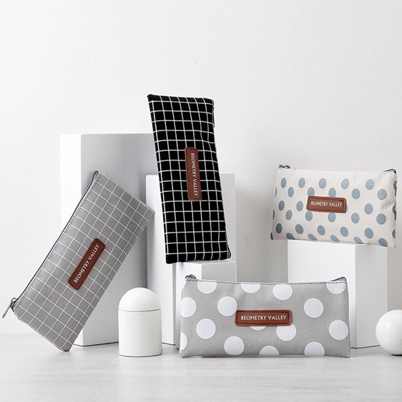 Kawaii Grid Dot Canvas Pencil Bag Case Stationery Storage Simple Organizer Bag Small Fresh Women Girls Cosmetic Bag Makeup Pouch