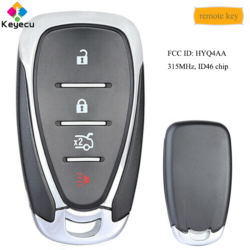 KEYECU Smart Remote Key With 4 Button & 315MHz - FOB for <font><b>Chevrolet</b></font> Malibu Cruze <font><b>Spark</b></font> Camaro Equinox 2016 <font><b>2017</b></font> 2018 2019, HYQ4AA image