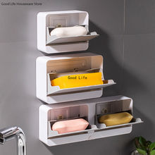 Creative Wall Mounted Soap Box With Lid Double Grids Soap Draining Rack Bathroom Soap Holder