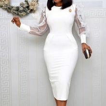 Белое Африканское женское облегающее платье Сетчатое Элегантное