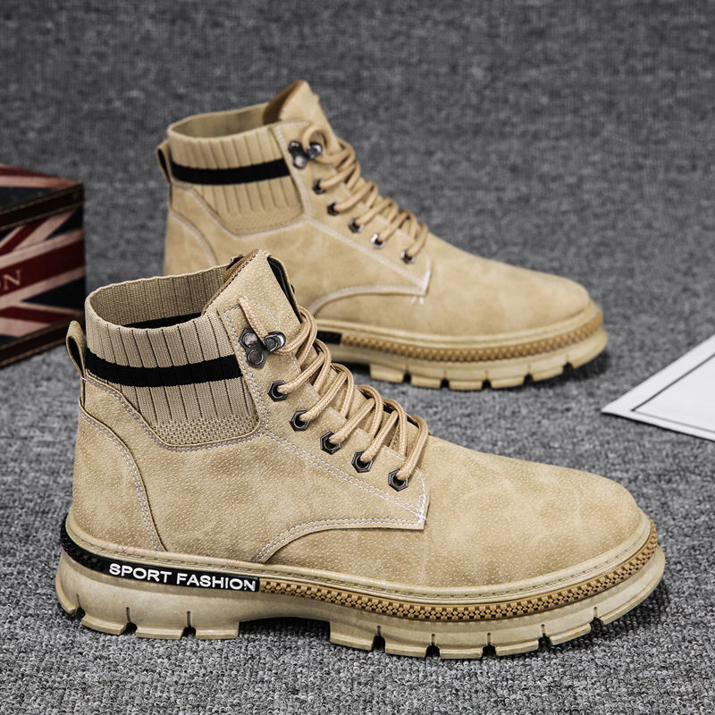 2020 Winter Men's Boots Chunky Shoes Trend All-match Fashion Velvet Boot Man Korean Tooling Boots High-top Warm Shoes