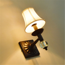 American Simple Crystal Warm Bedroom Bedside Wall Light Living Room Aisle Lamp Retro Stair Wall Lamp Free Shipping loft retro industrial wind led fixture american country vintage study office bedroom aisle bronze color wall lamp free shipping