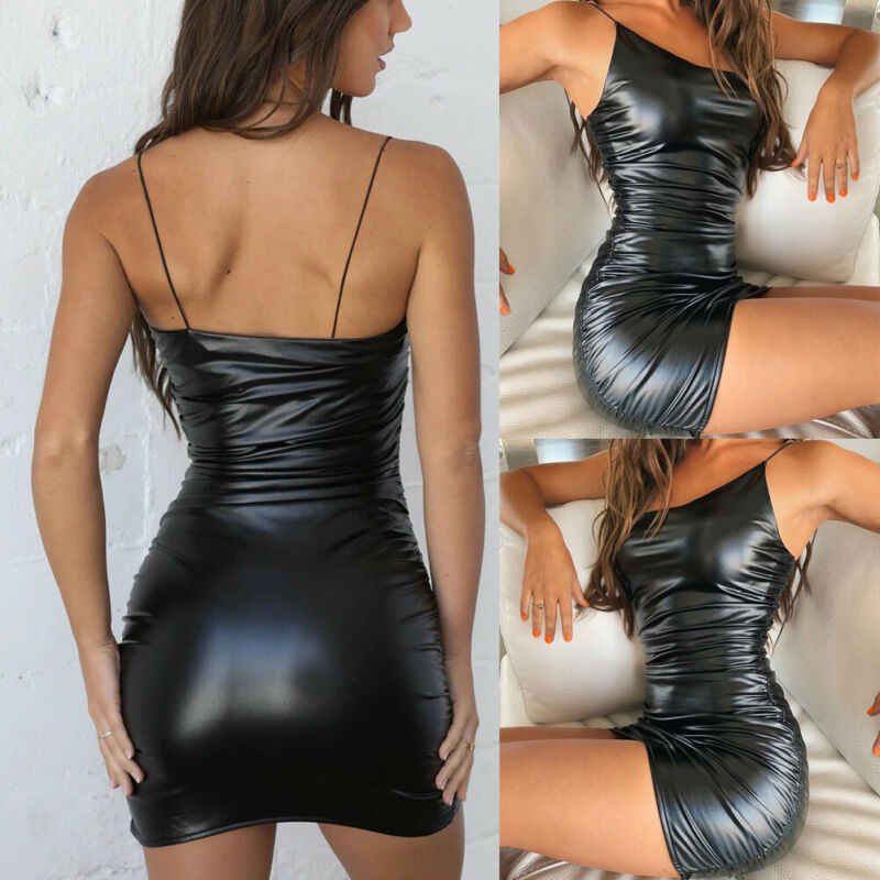 Sunsiom Marke Neue Frauen Sexy Fitness PU Leder Stretch Bodycon Kleid Damen Cocktail Ärmelloses Mini Kleid Wet Look Clubwear