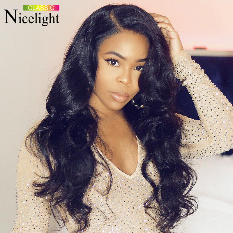 Nicelight Malaysian Body Wave Wig 100%Human Hair Wigs 13x4 Front Lace Wigs 150 Density Natural Color Remy Lace Wig For Women