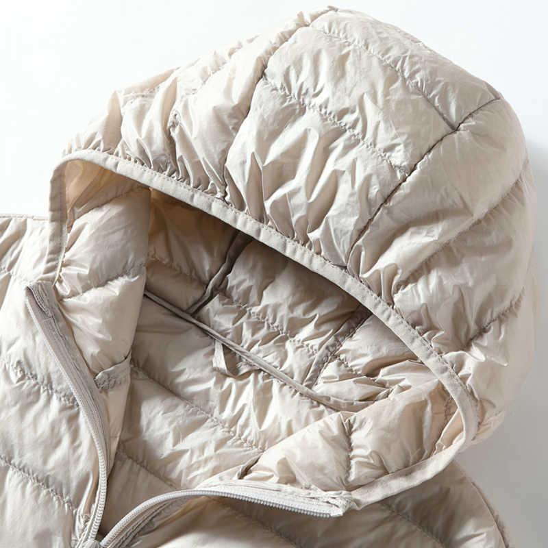 여성 조끼 다운 자켓 여성 후드 봄 가을 울트라 라이트 민소매 코트 플러스 사이즈 chalecos para mujer j3831