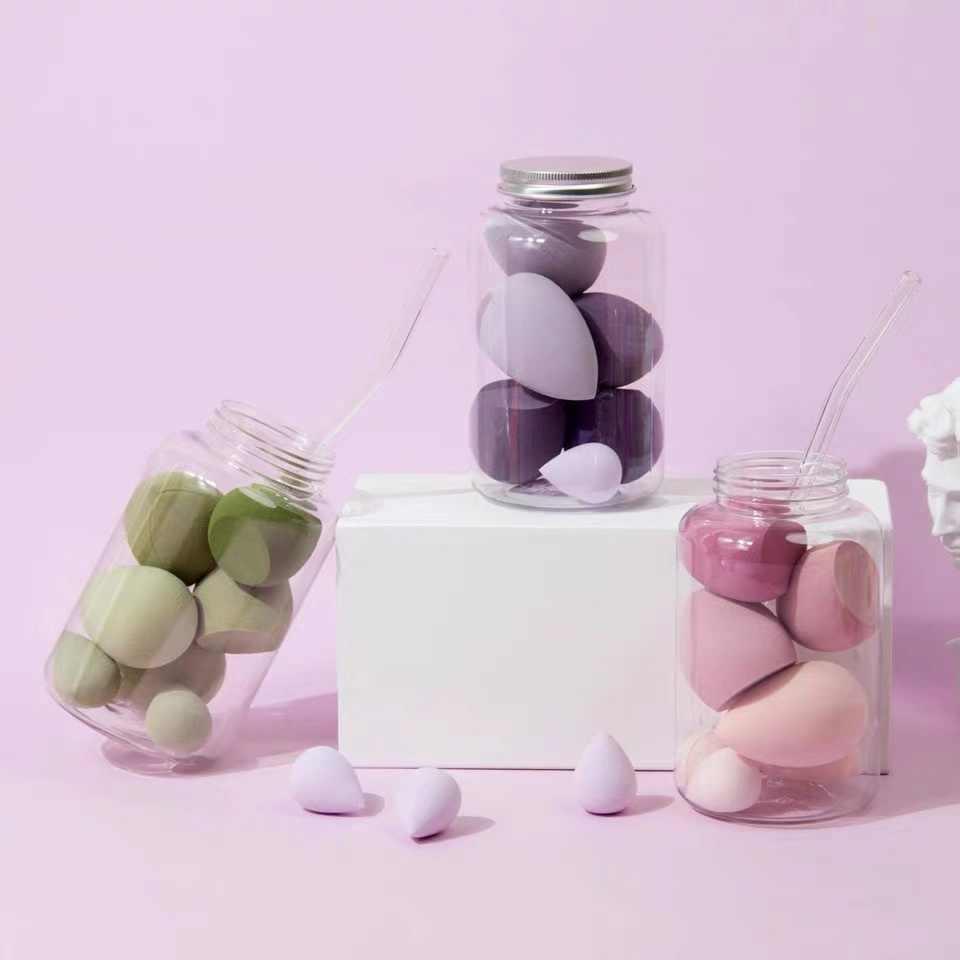 7 adet Pro vakfı sünger pudra pufu kozmetik pürüzsüz krem karıştırma çok şekil yüz güzellik makyaj aracı seti şişe