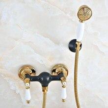 Роскошный золотой цвет латунный черный масло втирают Бронзовый настенный ванной ручной душевой кран Набор для ванной смеситель кран mna510