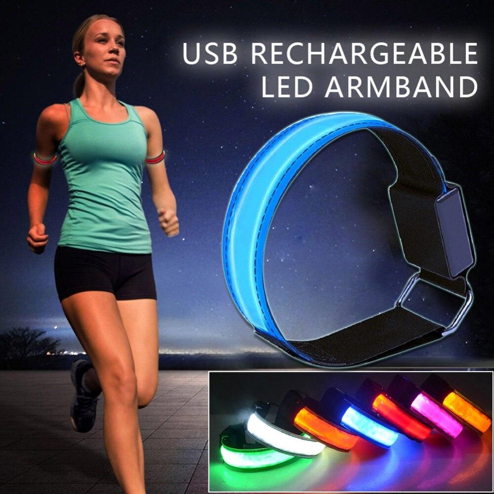 7Farbe Reflektierende LED-Licht Armband Strap Night Running Radfahren Sicherheit
