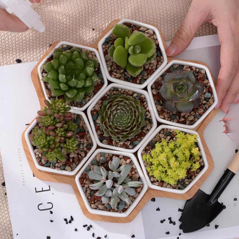 Set von 7 Hexagon Blumentöpfe Weiß Keramik Sukkulente Topf mit Bambus Stand Home Decor Bonsai Pflanzer