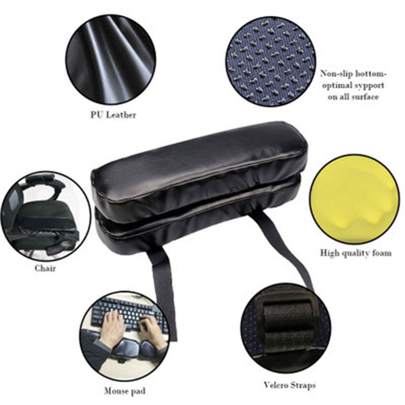 Wheel Chair Armrest Pad Cover Elbow Pain Relief Cushion Memory Foam PU Leather Office ALI88