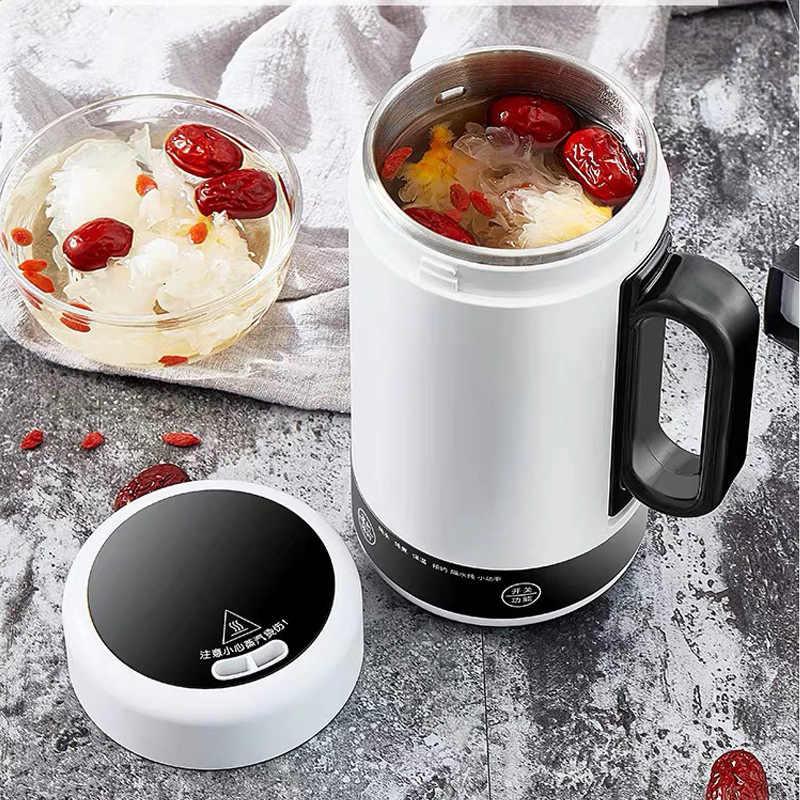 Portátil mini chaleira elétrica de água quente aquecimento térmico caldeira viagem bule copo aquecedor leite ensopado mingau fogão saudável copo