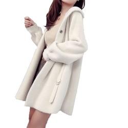 Stricken frauen Strickjacke Pullover Mantel 2019 Stil Herbst Langen Mantel Mit Kapuze Nachahmung nerz Lose Pullover Mantel Feste Weibliche starke