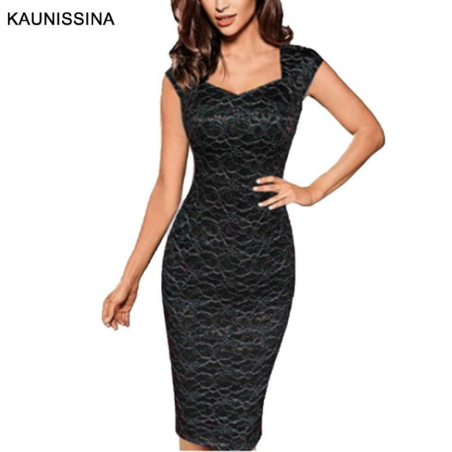 KAUNISSINA Women Elegant Lace Cocktail Dress Sleeveless Slim Sexy V-Neck Bodycon Club Pencil Gown Ladies Party Dresses 1
