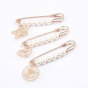 Alfileres de Seguridad de 7cm de largo broche perla simulada Pin colgante de Metal decoración de vestido hebilla Pin joyería broches para ropa sombrero bufanda